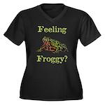 Feeling Froggy? Women's Plus Size V-Neck Dark T-Sh
