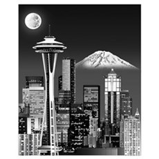 Night Seattle Skyline w/ Space Needle(B&amp Poster