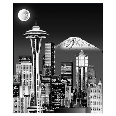 Night Seattle Skyline w/ Space Needle(B&amp Poster