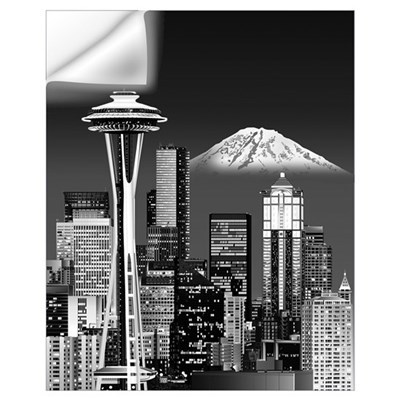 Night Seattle Skyline w/ Space Needle(B&amp Wall Decal