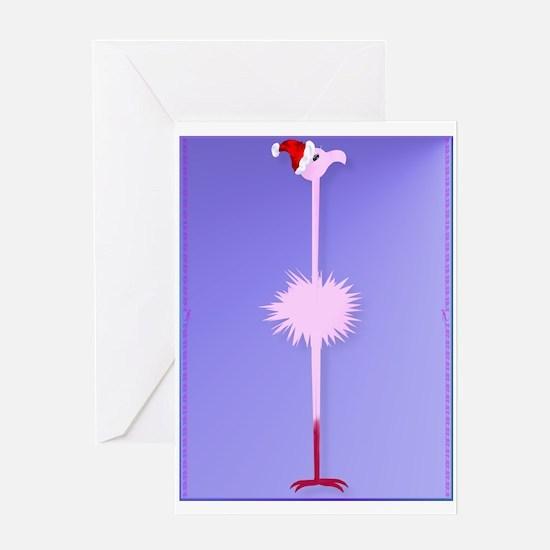 Pink Christmas Flamingo 2 Greeting Card