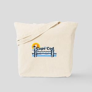 Cape Cod MA - Pier Design Tote Bag