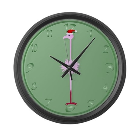 Pink Christmas Flamingo 3 Large Wall Clock