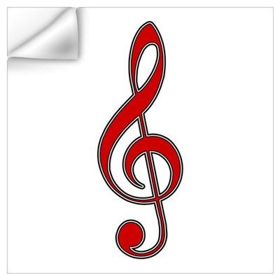 Retro Red Treble Clef Wall Decal