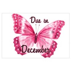 Due December Sparkle Butterfly Poster