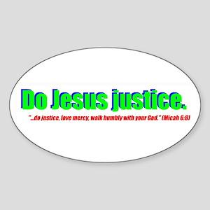 Jesus Justice Oval Sticker