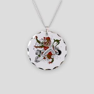 Cameron Tartan Lion Necklace Circle Charm