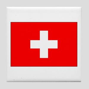 Swiss Flag for Swiss Pride Tile Coaster