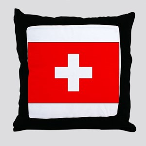 Swiss Flag for Swiss Pride Throw Pillow