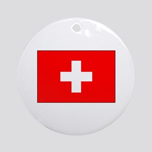 Swiss Flag for Swiss Pride Ornament (Round)