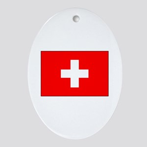 Swiss Flag for Swiss Pride Oval Ornament