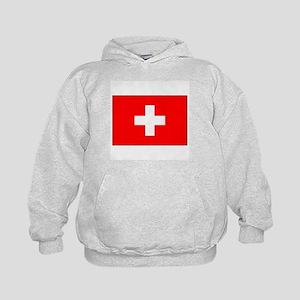 Swiss Flag for Swiss Pride Kids Hoodie