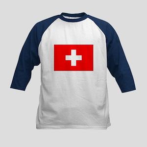 Swiss Flag for Swiss Pride Kids Baseball Jersey