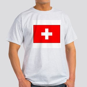 Swiss Flag for Swiss Pride Ash Grey T-Shirt