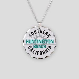 Huntington Beach California Necklace Circle Charm