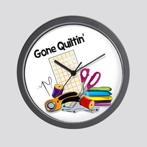Gone Quiltin' Wall Clock