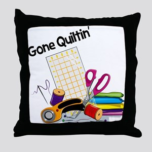 Gone Quiltin' Throw Pillow