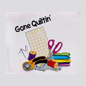 Gone Quiltin' Throw Blanket