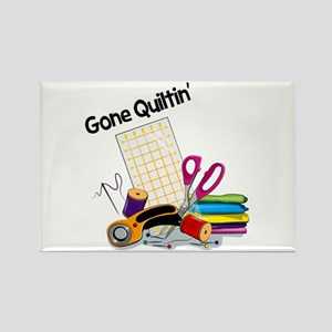 Gone Quiltin' Rectangle Magnet