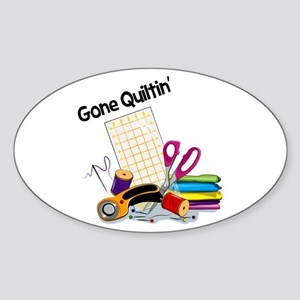 Gone Quiltin' Sticker (Oval)