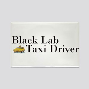 Black Lab Taxi Rectangle Magnet