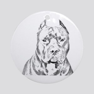 Pit Bull Head Ornament (Round)