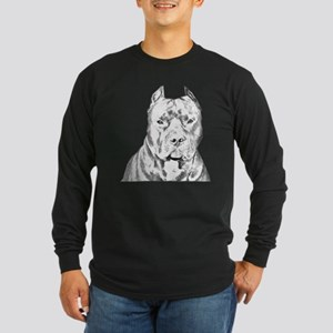 Pit Bull Head Long Sleeve Dark T-Shirt