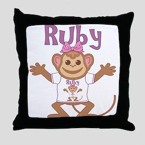 Little Monkey Ruby Throw Pillow