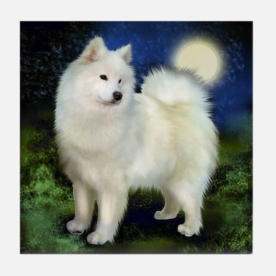 SAMOYED DOG Full Moon Tile Coaster
