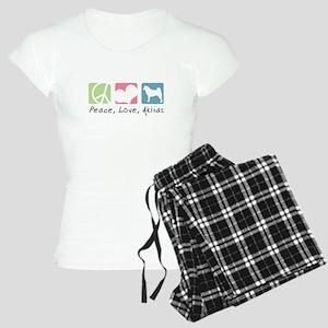 Peace, Love, Akitas Women's Light Pajamas