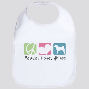 Peace, Love, Akitas Bib