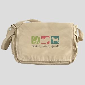 Peace, Love, Akitas Messenger Bag