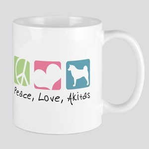 Peace, Love, Akitas Mug
