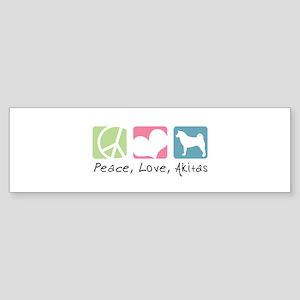 Peace, Love, Akitas Sticker (Bumper)