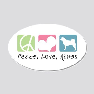 Peace, Love, Akitas 22x14 Oval Wall Peel