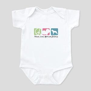 Peace, Love, American Bulldogs Infant Bodysuit