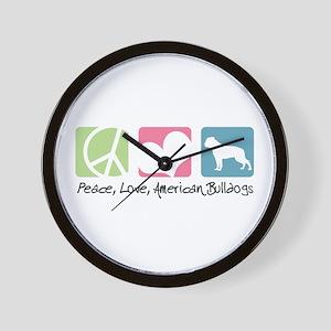 Peace, Love, American Bulldogs Wall Clock