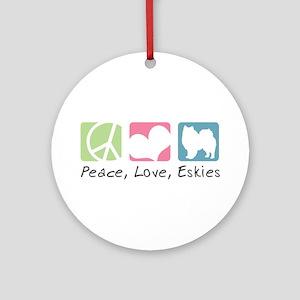 Peace, Love, Eskies Ornament (Round)
