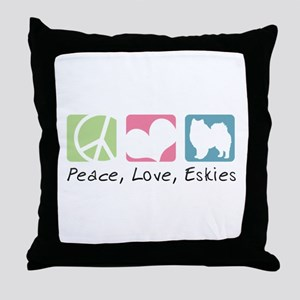 Peace, Love, Eskies Throw Pillow