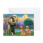 St Francis - 2 Goldens Greeting Cards (Pk of 10)