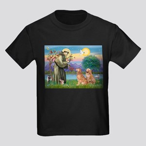 St Francis - 2 Goldens Kids Dark T-Shirt
