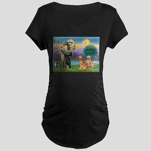 St Francis - 2 Goldens Maternity Dark T-Shirt