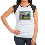 St Francis - 2 Goldens Women's Cap Sleeve T-Shirt