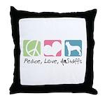 Peace, Love, AmStaffs Throw Pillow