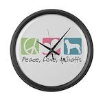 Peace, Love, AmStaffs Large Wall Clock