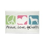 Peace, Love, AmStaffs Rectangle Magnet (10 pack)