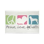 Peace, Love, AmStaffs Rectangle Magnet (100 pack)