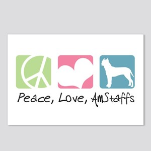 Peace, Love, AmStaffs Postcards (Package of 8)
