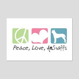 Peace, Love, AmStaffs Mini Poster Print