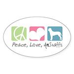Peace, Love, AmStaffs Sticker (Oval 10 pk)